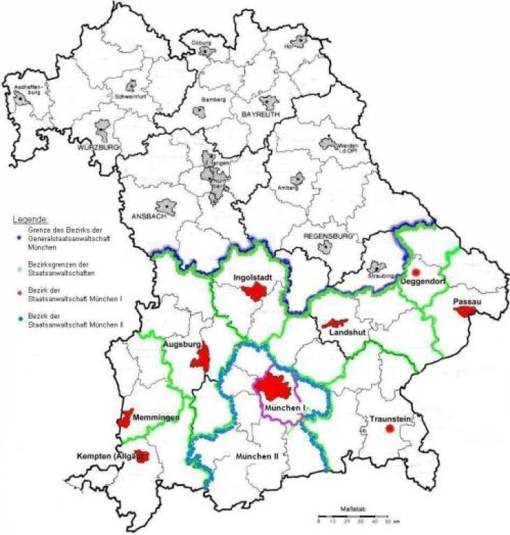 München Karte Bayern.Generalstaatsanwaltschaft München Bezirk Bayerisches