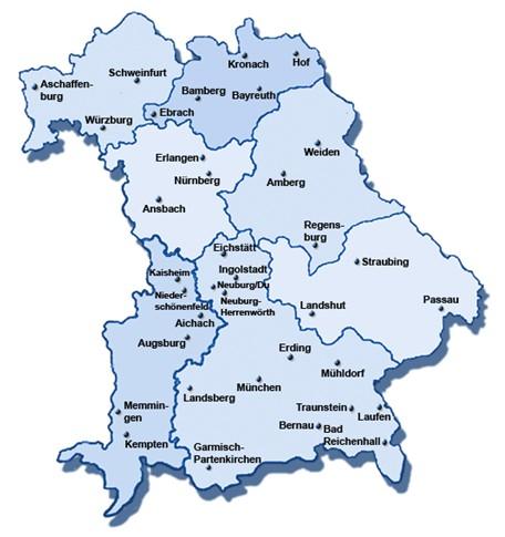 Bildergebnis für Landkarte Bayern